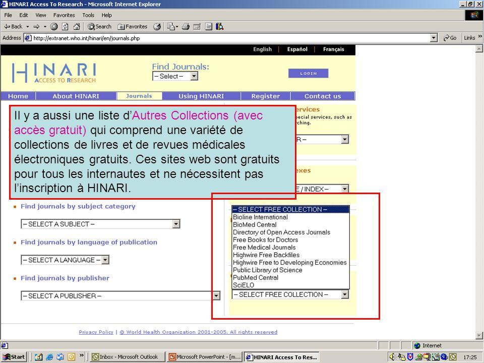 Free full text collections 1 Il y a aussi une liste dAutres Collections (avec accès gratuit) qui comprend une variété de collections de livres et de r