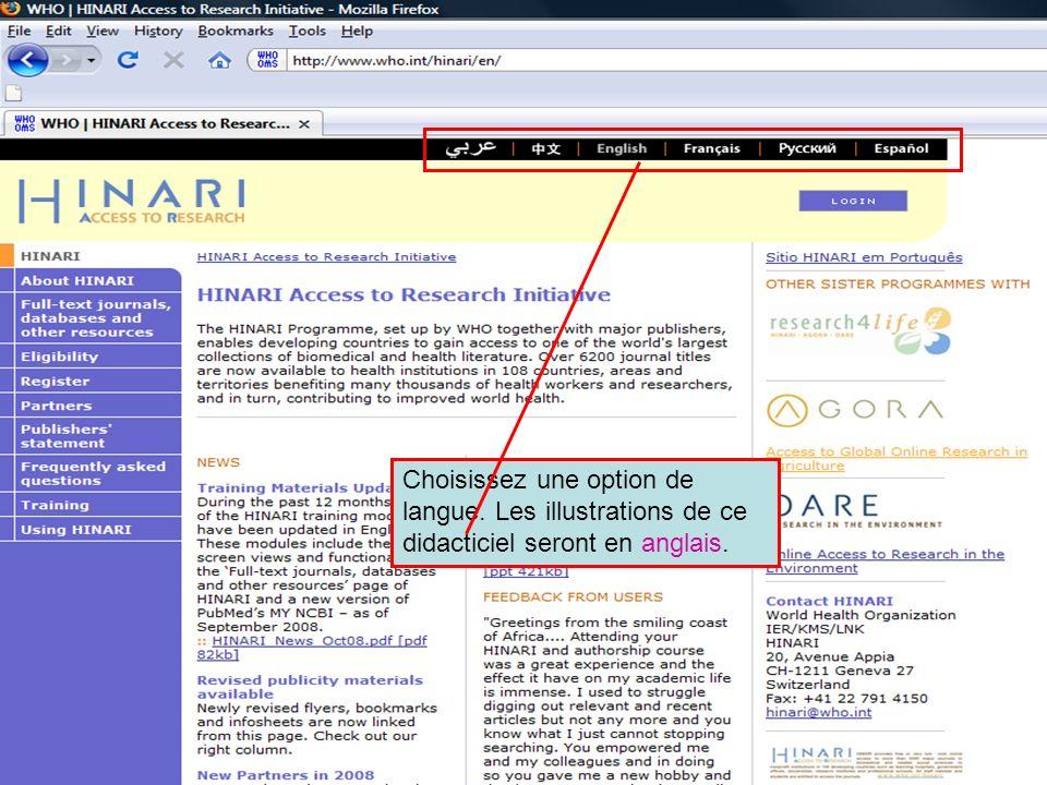 Accessing journals by Language continued Une liste alphabétique de revues en langue française est affichée.