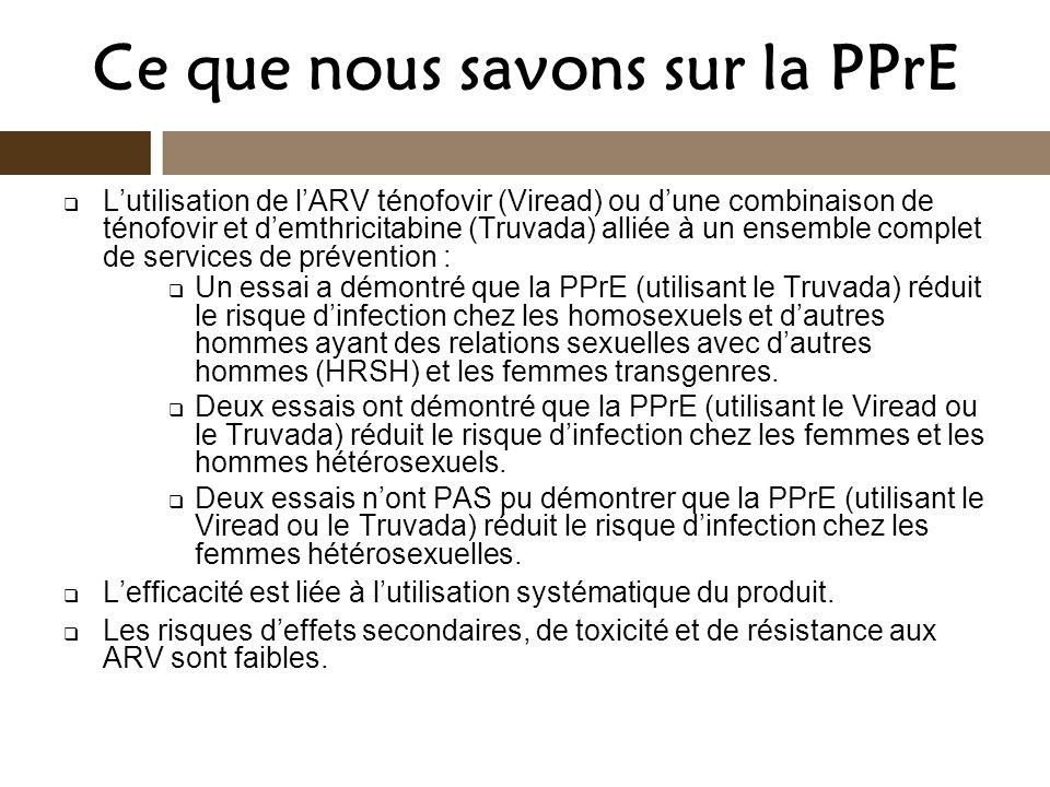 Ce que nous savons sur la PPrE Lutilisation de lARV ténofovir (Viread) ou dune combinaison de ténofovir et demthricitabine (Truvada) alliée à un ensem