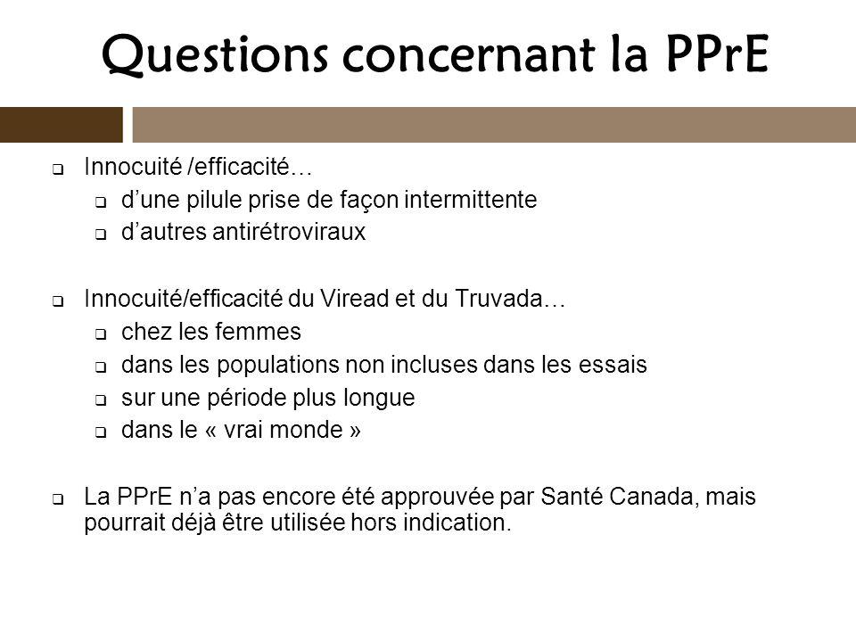 Questions concernant la PPrE Innocuité /efficacité… dune pilule prise de façon intermittente dautres antirétroviraux Innocuité/efficacité du Viread et