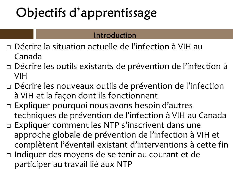 Objectifs dapprentissage Décrire la situation actuelle de linfection à VIH au Canada Décrire les outils existants de prévention de linfection à VIH Dé