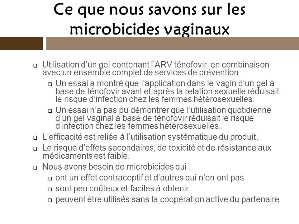 Ce que nous savons sur les microbicides vaginaux Utilisation dun gel contenant lARV ténofovir, en combinaison avec un ensemble complet de services de