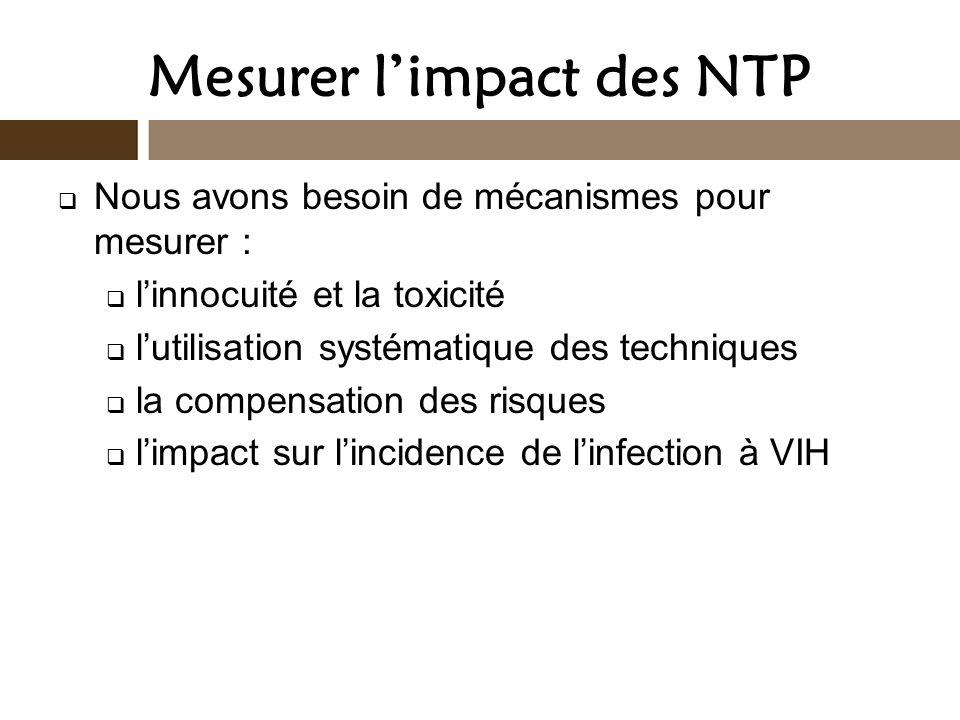 Mesurer limpact des NTP Nous avons besoin de mécanismes pour mesurer : linnocuité et la toxicité lutilisation systématique des techniques la compensat