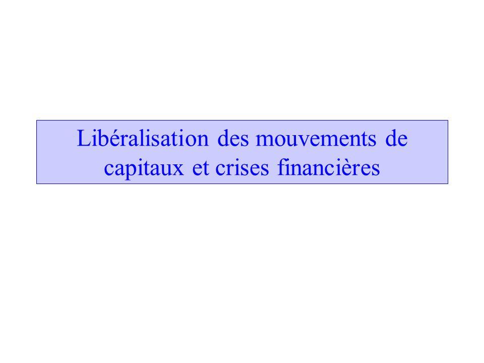 Deux vagues de globalisation financière Intégration financière forte fin 19è siècle Fin du 20è siècle: croissance des transactions financières internationales et des mouvements internationaux de capitaux.