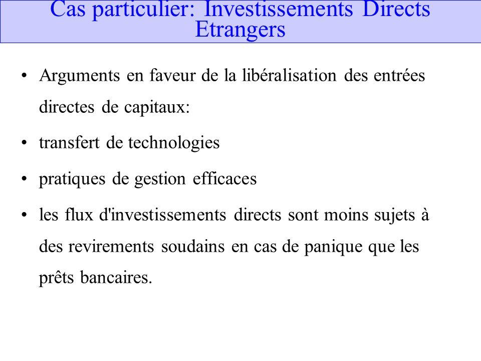 Cas particulier: Investissements Directs Etrangers Arguments en faveur de la libéralisation des entrées directes de capitaux: transfert de technologie