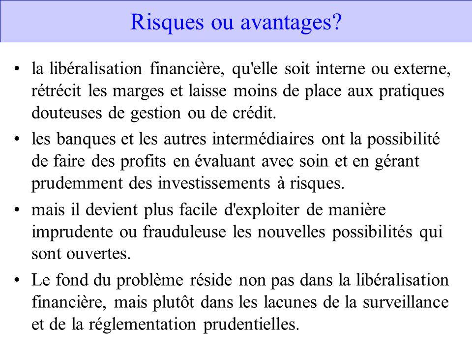 Risques ou avantages? la libéralisation financière, qu'elle soit interne ou externe, rétrécit les marges et laisse moins de place aux pratiques douteu