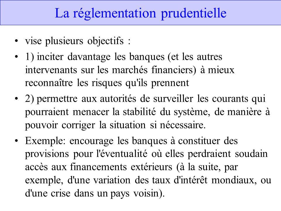 La réglementation prudentielle vise plusieurs objectifs : 1) inciter davantage les banques (et les autres intervenants sur les marchés financiers) à m
