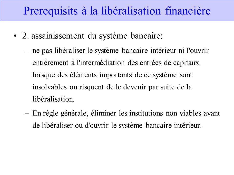 Prerequisits à la libéralisation financière 2. assainissement du système bancaire: –ne pas libéraliser le système bancaire intérieur ni l'ouvrir entiè