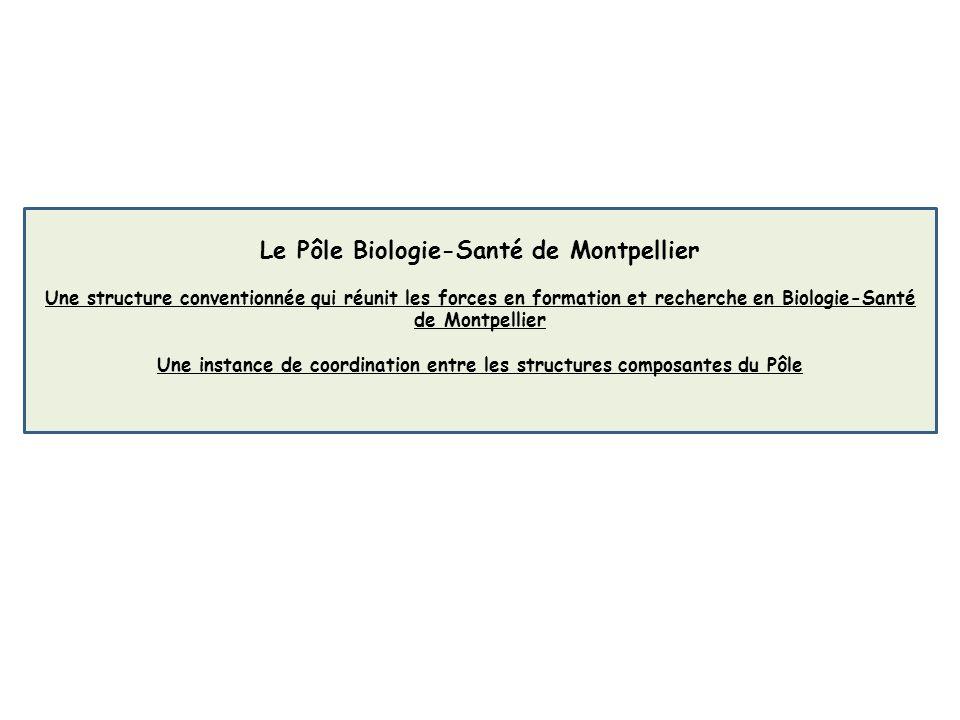 Le Pôle Biologie-Santé de Montpellier Une structure conventionnée qui réunit les forces en formation et recherche en Biologie-Santé de Montpellier Une instance de coordination entre les structures composantes du Pôle