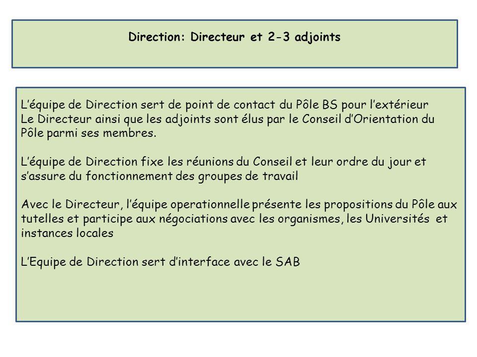 Léquipe de Direction sert de point de contact du Pôle BS pour lextérieur Le Directeur ainsi que les adjoints sont élus par le Conseil dOrientation du Pôle parmi ses membres.