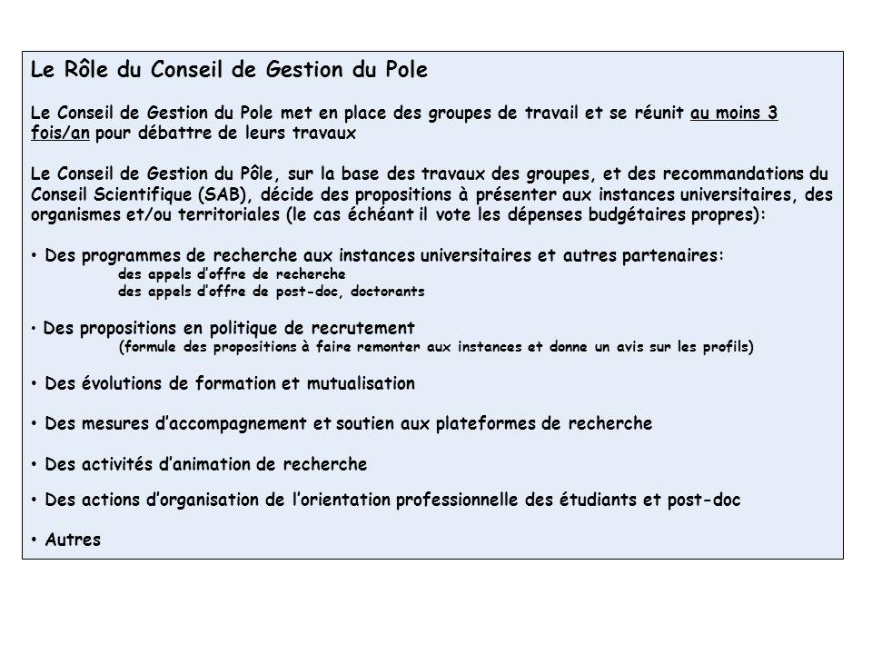 Le Rôle du Conseil de Gestion du Pole Le Conseil de Gestion du Pole met en place des groupes de travail et se réunit au moins 3 fois/an pour débattre de leurs travaux Le Conseil de Gestion du Pôle, sur la base des travaux des groupes, et des recommandations du Conseil Scientifique (SAB), décide des propositions à présenter aux instances universitaires, des organismes et/ou territoriales (le cas échéant il vote les dépenses budgétaires propres): Des programmes de recherche aux instances universitaires et autres partenaires: des appels doffre de recherche des appels doffre de post-doc, doctorants Des propositions en politique de recrutement (formule des propositions à faire remonter aux instances et donne un avis sur les profils) Des évolutions de formation et mutualisation Des mesures daccompagnement et soutien aux plateformes de recherche Des activités danimation de recherche Des actions dorganisation de lorientation professionnelle des étudiants et post-doc Autres