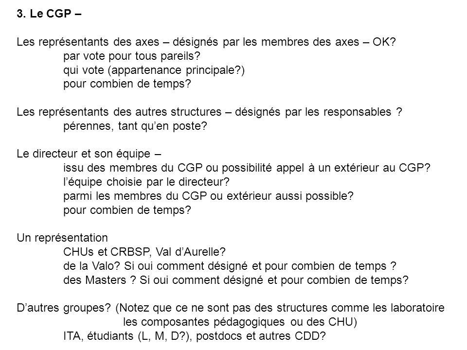 3.Le CGP – Les représentants des axes – désignés par les membres des axes – OK.
