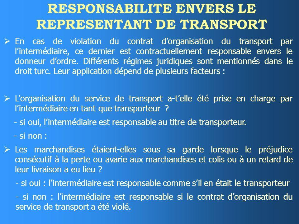 EXECUTION DU SERVICE DE TRANSPORT Lexécution du service de transport incombe soit à un tiers soit, exceptionnellement, à lintermédiaire lui-même. Lint