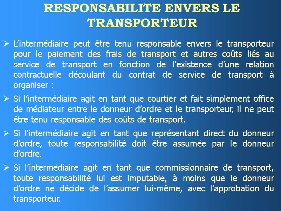 RESPONSABILITE ENVERS LE REPRESENTANT DE TRANSPORT En cas de violation du contrat dorganisation du transport par lintermédiaire, ce dernier est contra