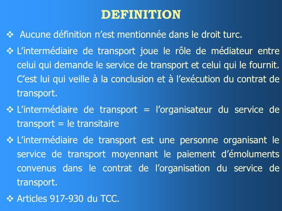 DROIT DE RECOURS Lintermédiaire a un droit de recours contre le transporteur ou le donneur dordre - selon la personne qui a formulé la demande - à moins quil ne soit lui-même à lorigine du préjudice suite à une violation du contrat.