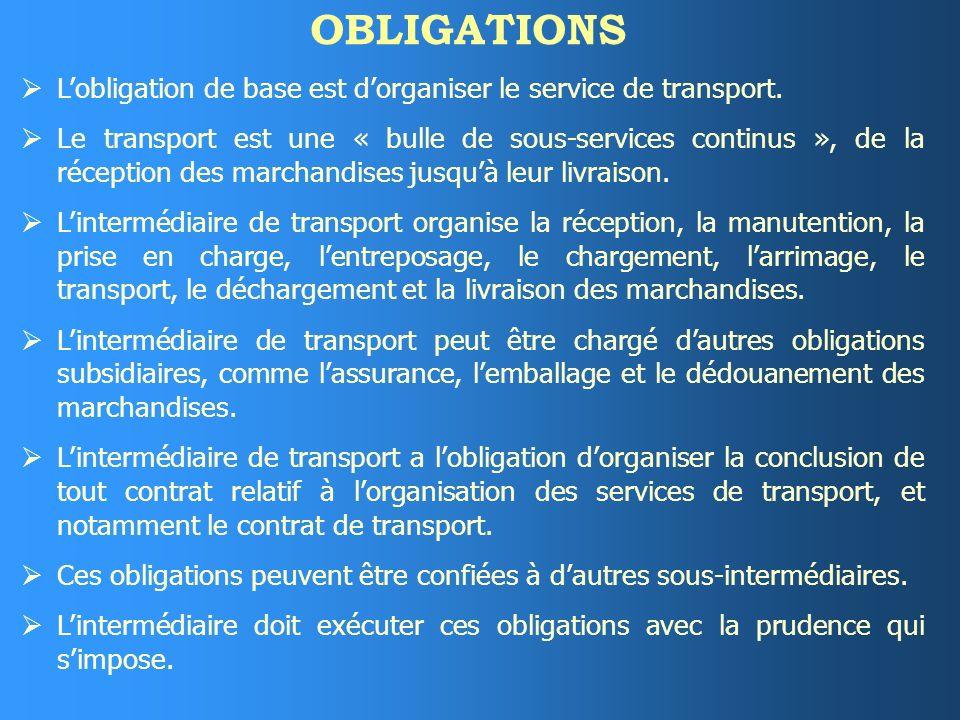 OBLIGATIONS Lobligation de base est dorganiser le service de transport.