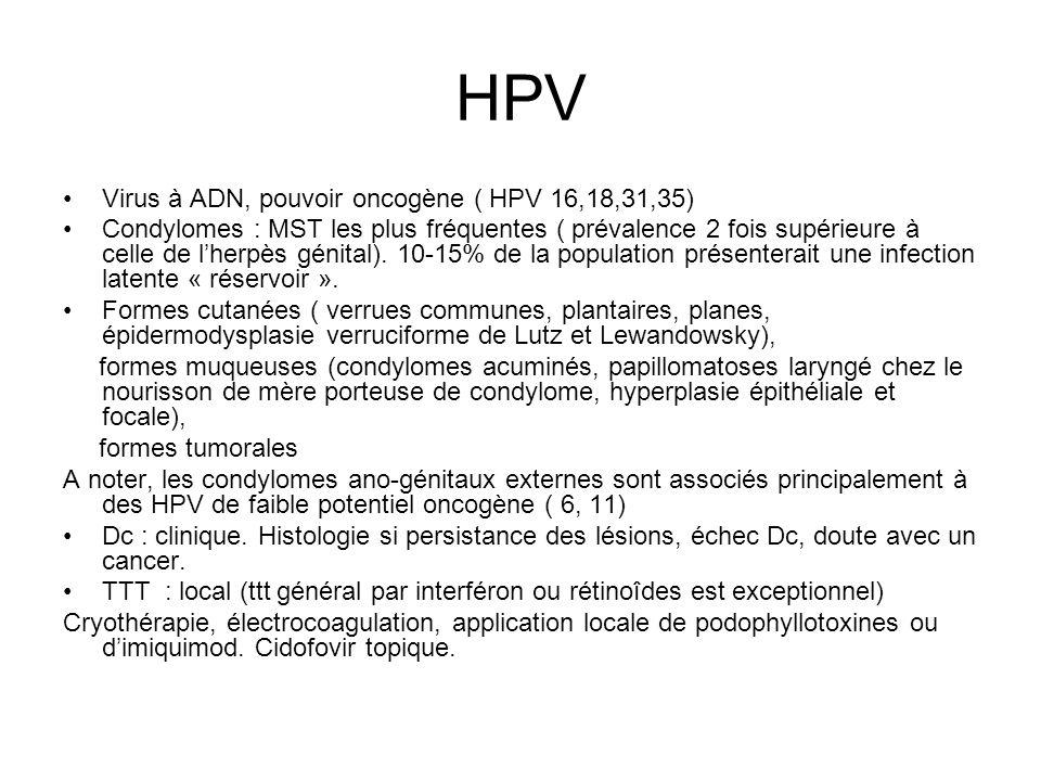 HPV Virus à ADN, pouvoir oncogène ( HPV 16,18,31,35) Condylomes : MST les plus fréquentes ( prévalence 2 fois supérieure à celle de lherpès génital).