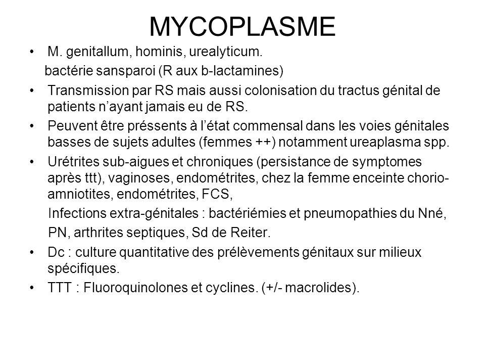 MYCOPLASME M.genitallum, hominis, urealyticum.