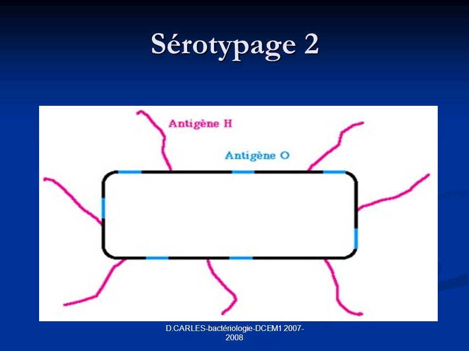 D.CARLES-bactériologie-DCEM1 2007- 2008 Sérotypage 2