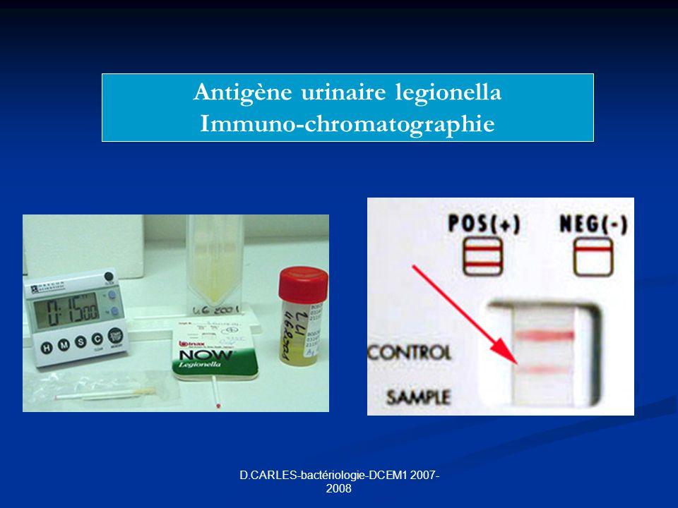 D.CARLES-bactériologie-DCEM1 2007- 2008 Antigène urinaire legionella Immuno-chromatographie