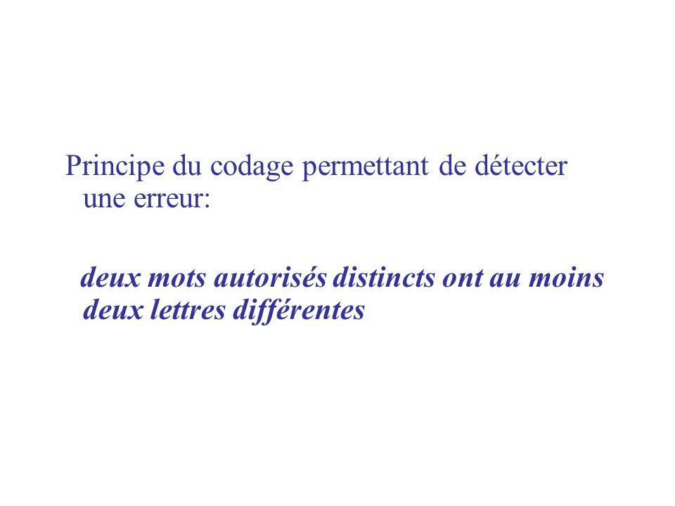 Principe du codage permettant de détecter une erreur: deux mots autorisés distincts ont au moins deux lettres différentes