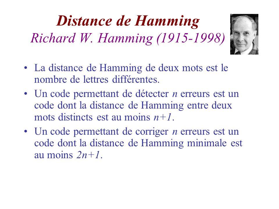 Distance de Hamming Richard W. Hamming (1915-1998) La distance de Hamming de deux mots est le nombre de lettres différentes. Un code permettant de dét