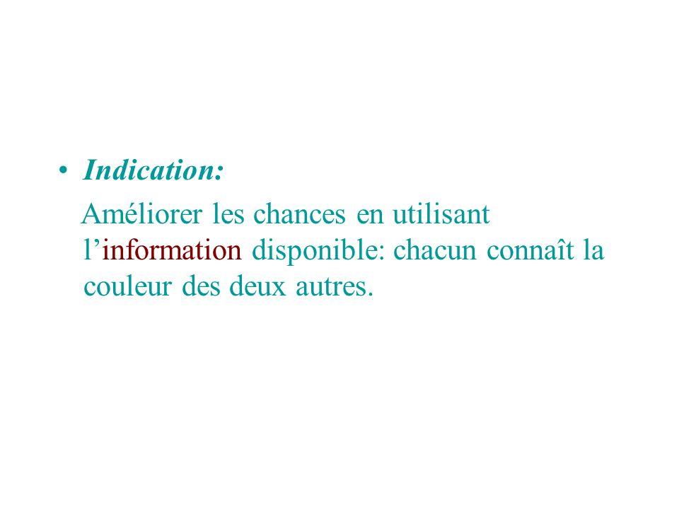 Indication: Améliorer les chances en utilisant linformation disponible: chacun connaît la couleur des deux autres.