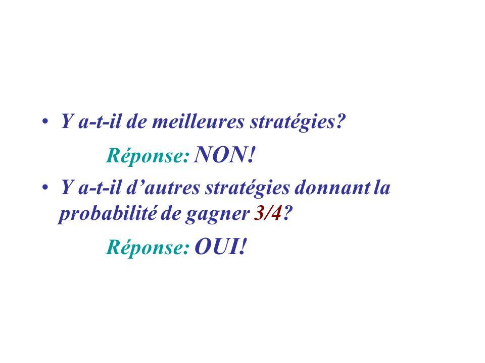 Y a-t-il de meilleures stratégies? Réponse: NON! Y a-t-il dautres stratégies donnant la probabilité de gagner 3/4? Réponse: OUI!