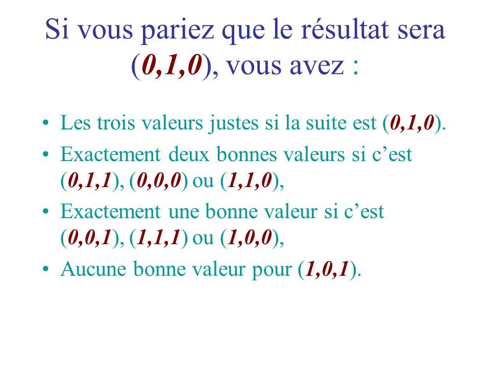 Si vous pariez que le résultat sera (0,1,0), vous avez : Les trois valeurs justes si la suite est (0,1,0). Exactement deux bonnes valeurs si cest (0,1