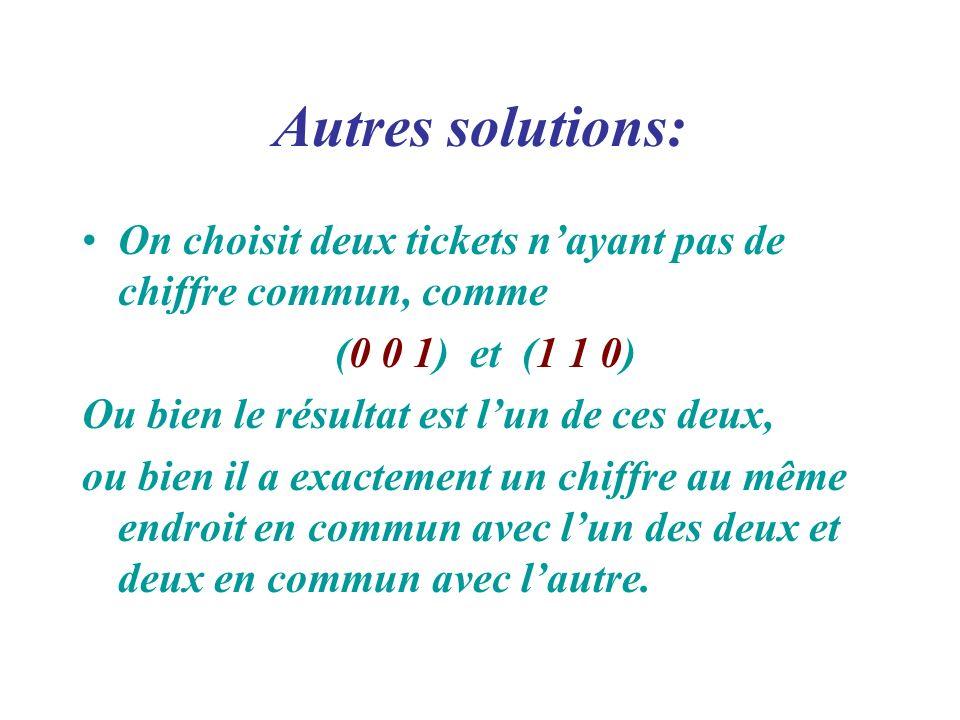 Autres solutions: On choisit deux tickets nayant pas de chiffre commun, comme (0 0 1) et (1 1 0) Ou bien le résultat est lun de ces deux, ou bien il a