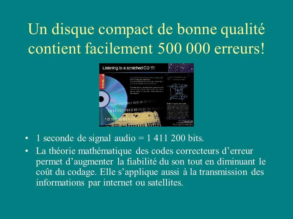 Un disque compact de bonne qualité contient facilement 500 000 erreurs! 1 seconde de signal audio = 1 411 200 bits. La théorie mathématique des codes