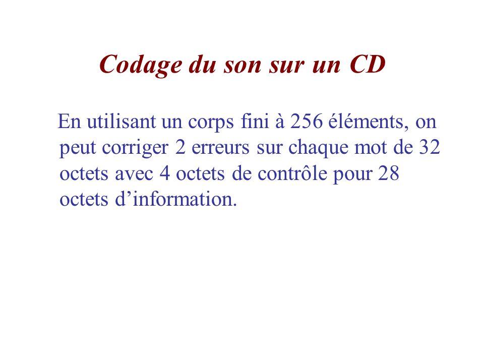 Codage du son sur un CD En utilisant un corps fini à 256 éléments, on peut corriger 2 erreurs sur chaque mot de 32 octets avec 4 octets de contrôle po