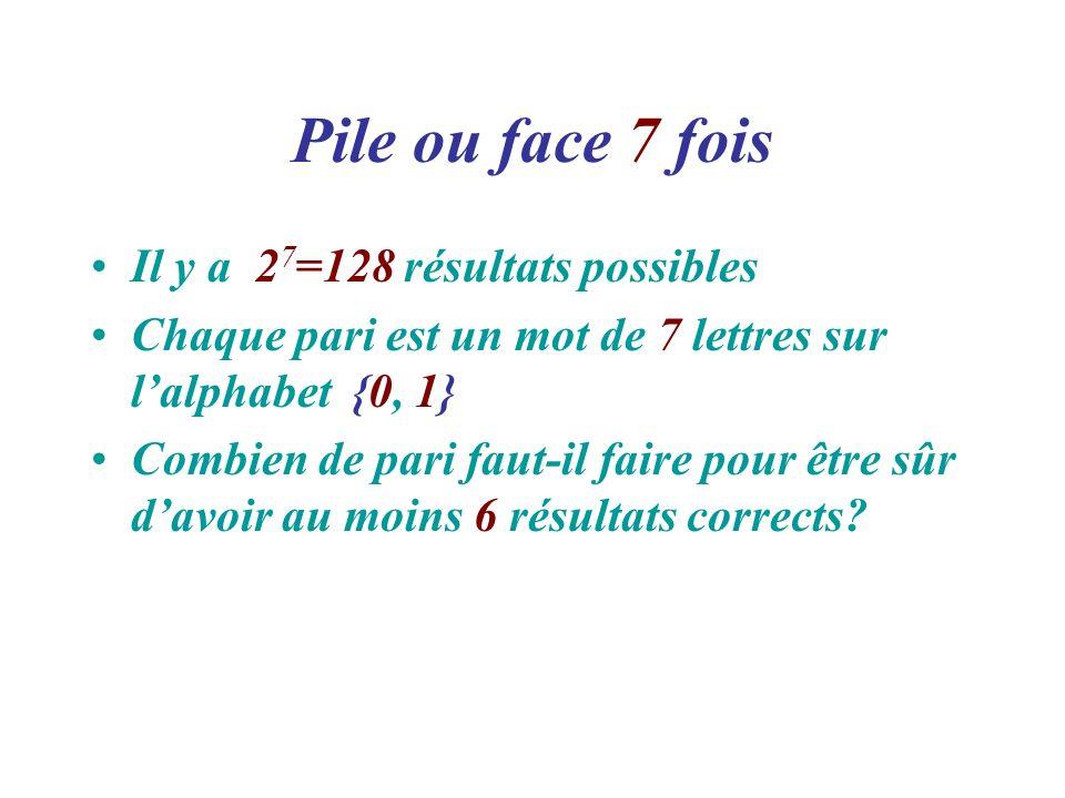 Pile ou face 7 fois Il y a 2 7 =128 résultats possibles Chaque pari est un mot de 7 lettres sur lalphabet {0, 1} Combien de pari faut-il faire pour êt