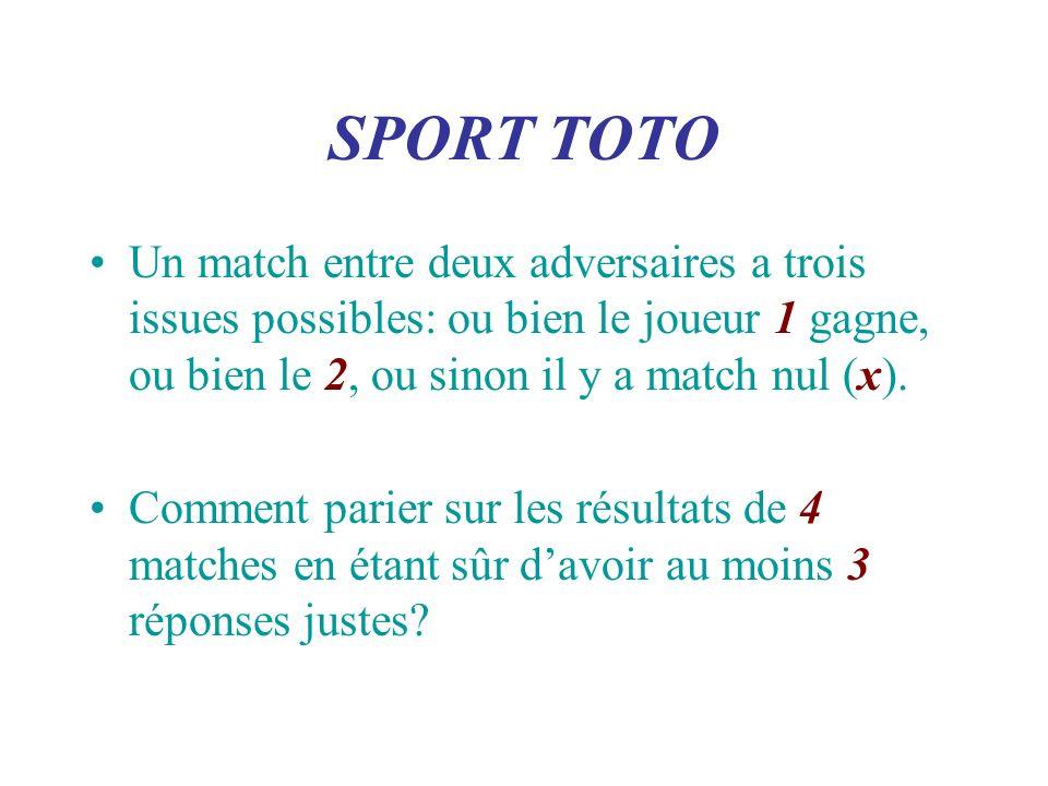 SPORT TOTO Un match entre deux adversaires a trois issues possibles: ou bien le joueur 1 gagne, ou bien le 2, ou sinon il y a match nul (x). Comment p
