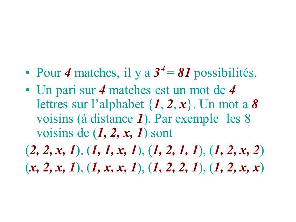 Pour 4 matches, il y a 3 = 81 possibilités. Un pari sur 4 matches est un mot de 4 lettres sur lalphabet {1, 2, x}. Un mot a 8 voisins (à distance 1).
