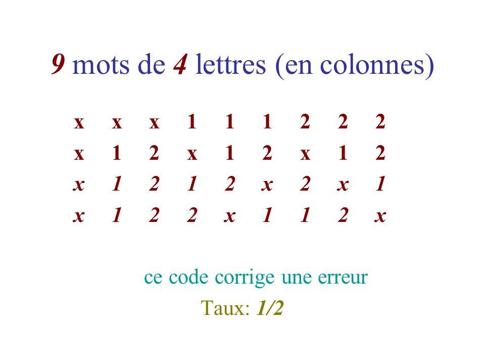 9 mots de 4 lettres (en colonnes) x x x 1 1 1 2 2 2 x 1 2 x 1 2 x 1 2 x 1 2 1 2 x 2 x 1 x 1 2 2 x 1 1 2 x ce code corrige une erreur Taux: 1/2