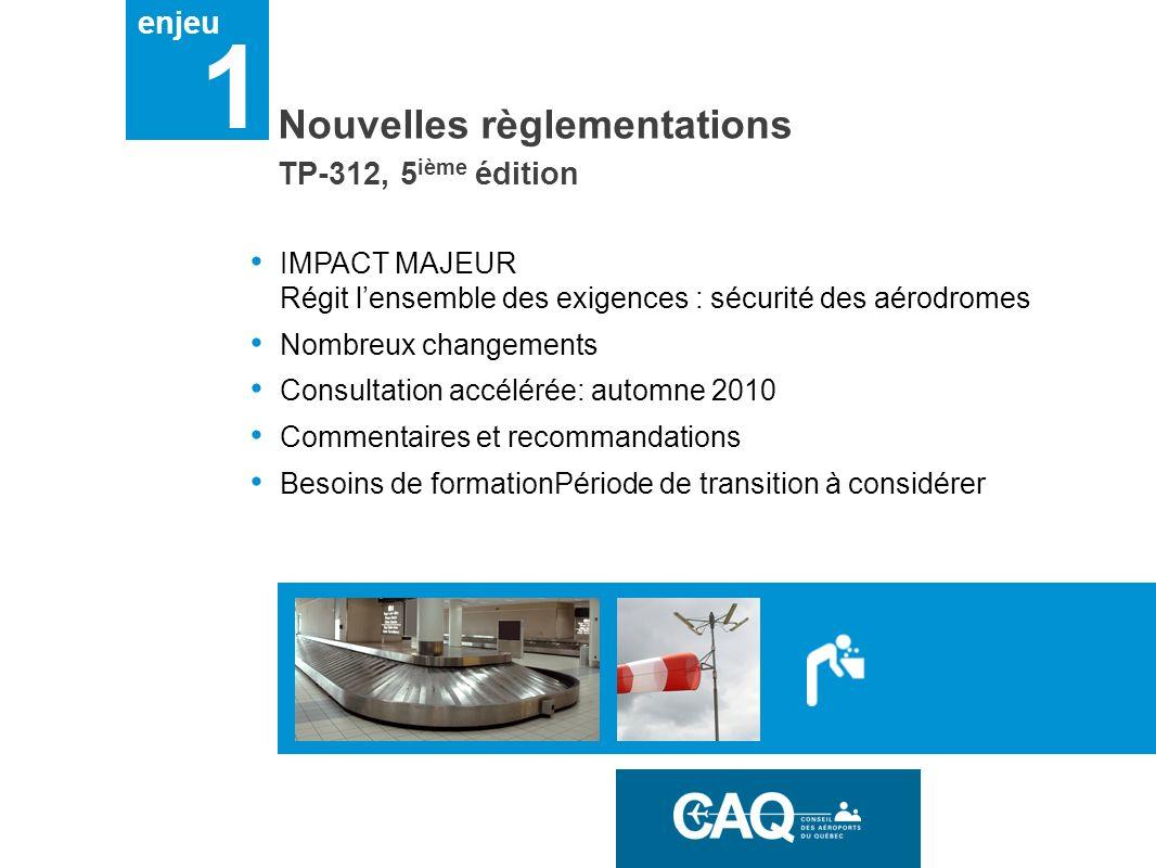enjeu 1 Nouvelles règlementations IMPACT MAJEUR Régit lensemble des exigences : sécurité des aérodromes Nombreux changements Consultation accélérée: a