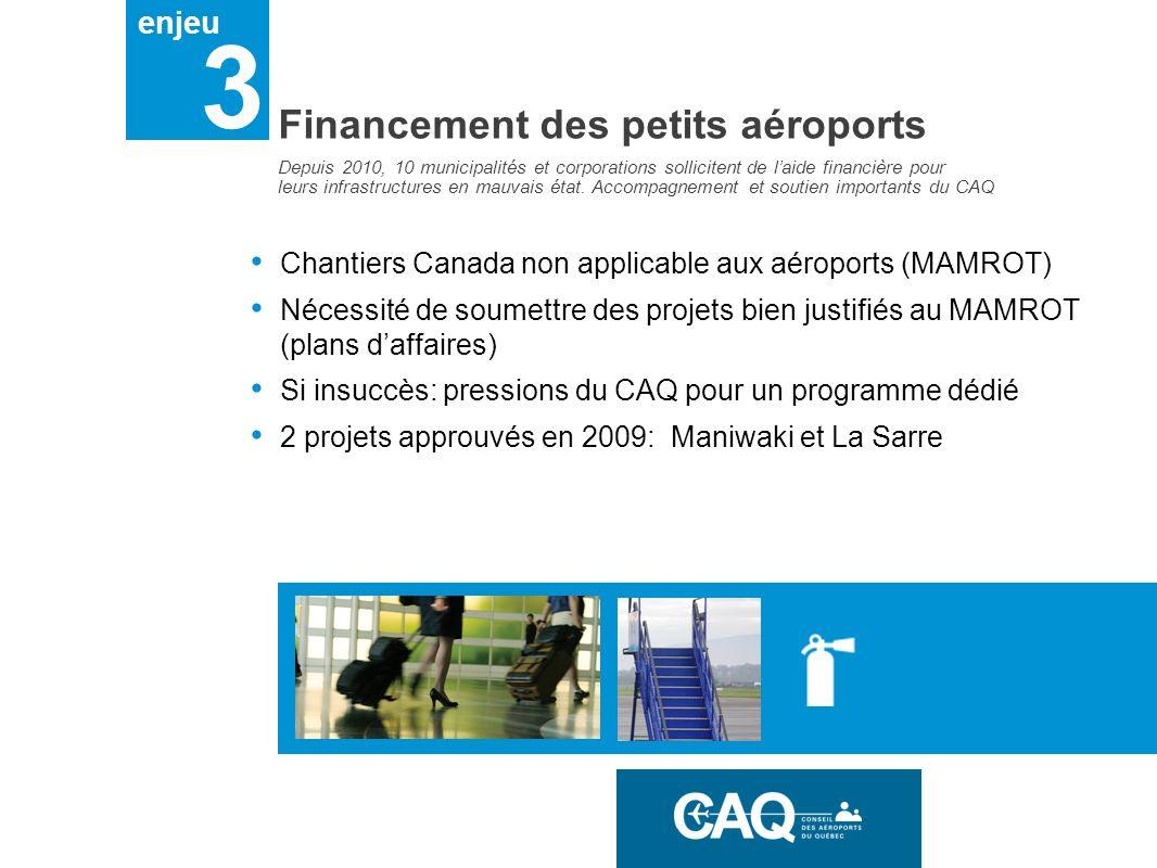 enjeu 3 Financement des petits aéroports Chantiers Canada non applicable aux aéroports (MAMROT) Nécessité de soumettre des projets bien justifiés au M