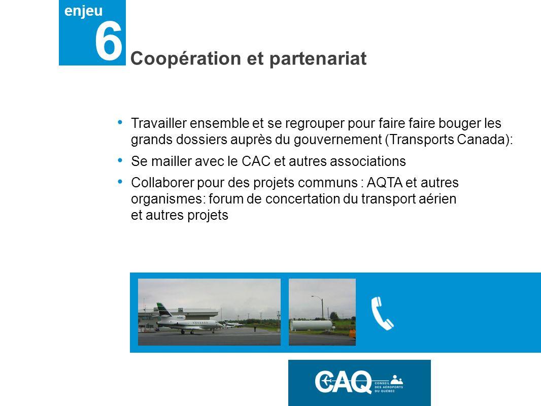 enjeu 6 Coopération et partenariat Travailler ensemble et se regrouper pour faire faire bouger les grands dossiers auprès du gouvernement (Transports Canada): Se mailler avec le CAC et autres associations Collaborer pour des projets communs : AQTA et autres organismes: forum de concertation du transport aérien et autres projets