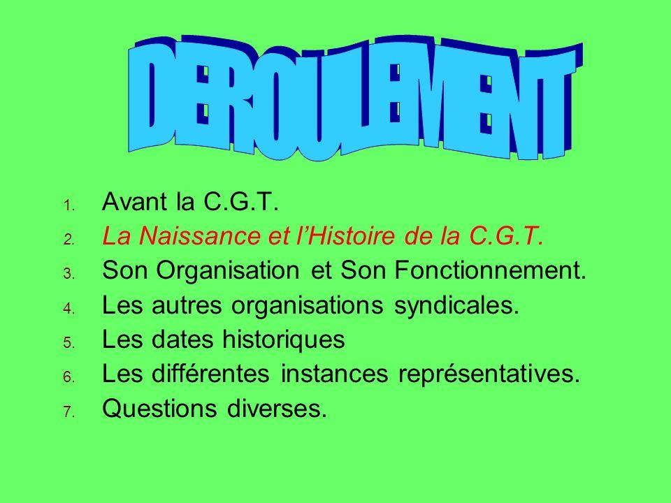 1.Avant la C.G.T. 2. La Naissance et lHistoire de la C.G.T.