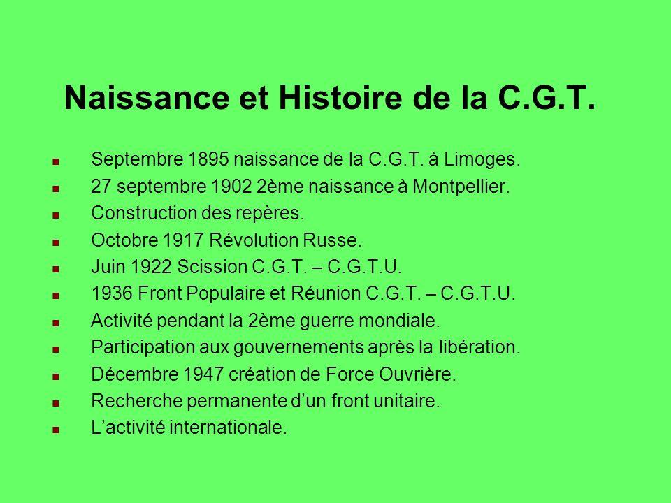 Naissance et Histoire de la C.G.T.Septembre 1895 naissance de la C.G.T.