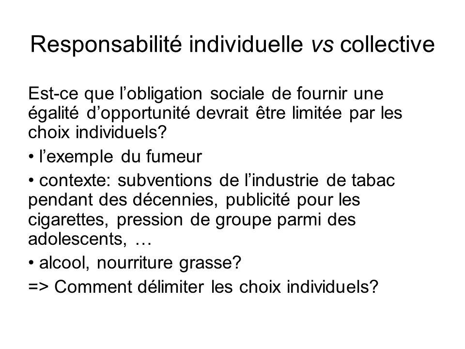 Responsabilité individuelle vs collective Est-ce que lobligation sociale de fournir une égalité dopportunité devrait être limitée par les choix individuels.
