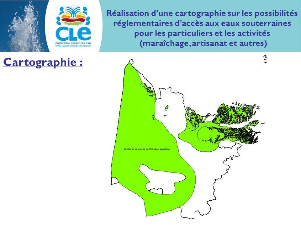 Cartographie : Réalisation dune cartographie sur les possibilités réglementaires daccès aux eaux souterraines pour les particuliers et les activités (maraîchage, artisanat et autres)