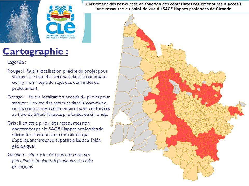 Cartographie : Légende : Rouge : Il faut la localisation précise du projet pour statuer : il existe des secteurs dans la commune où il y a un risque de rejet des demandes de prélèvement.