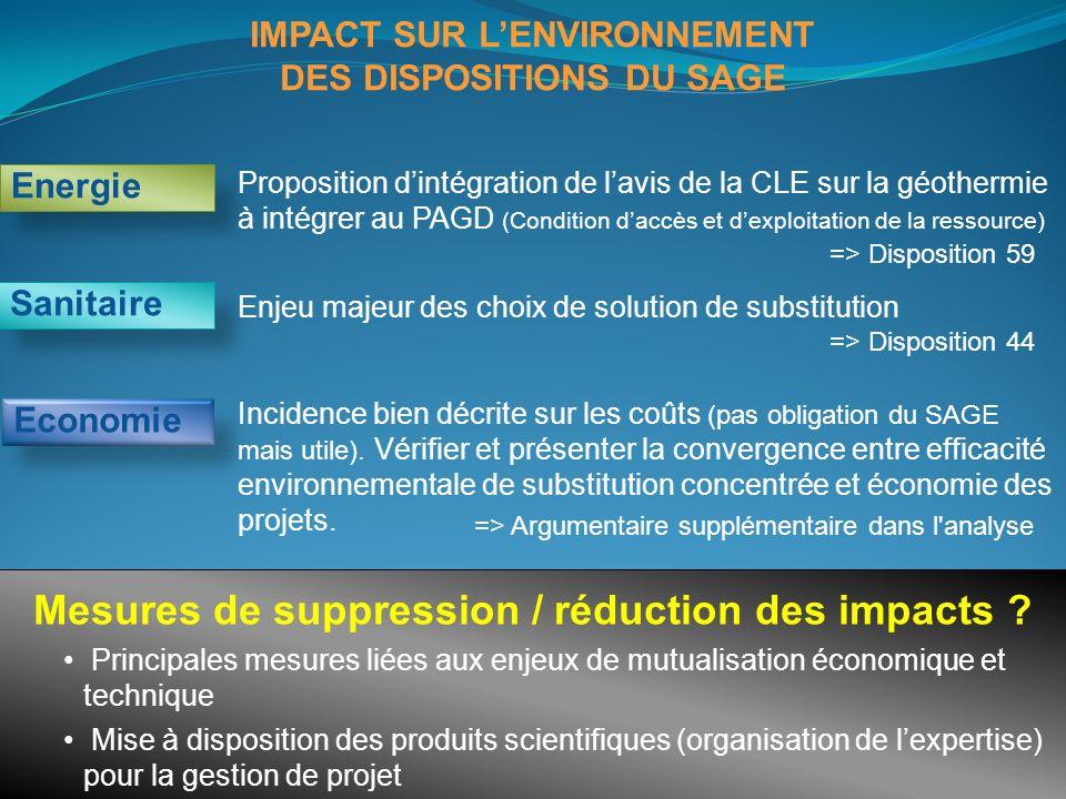 IMPACT SUR LENVIRONNEMENT DES DISPOSITIONS DU SAGE Proposition dintégration de lavis de la CLE sur la géothermie à intégrer au PAGD (Condition daccès