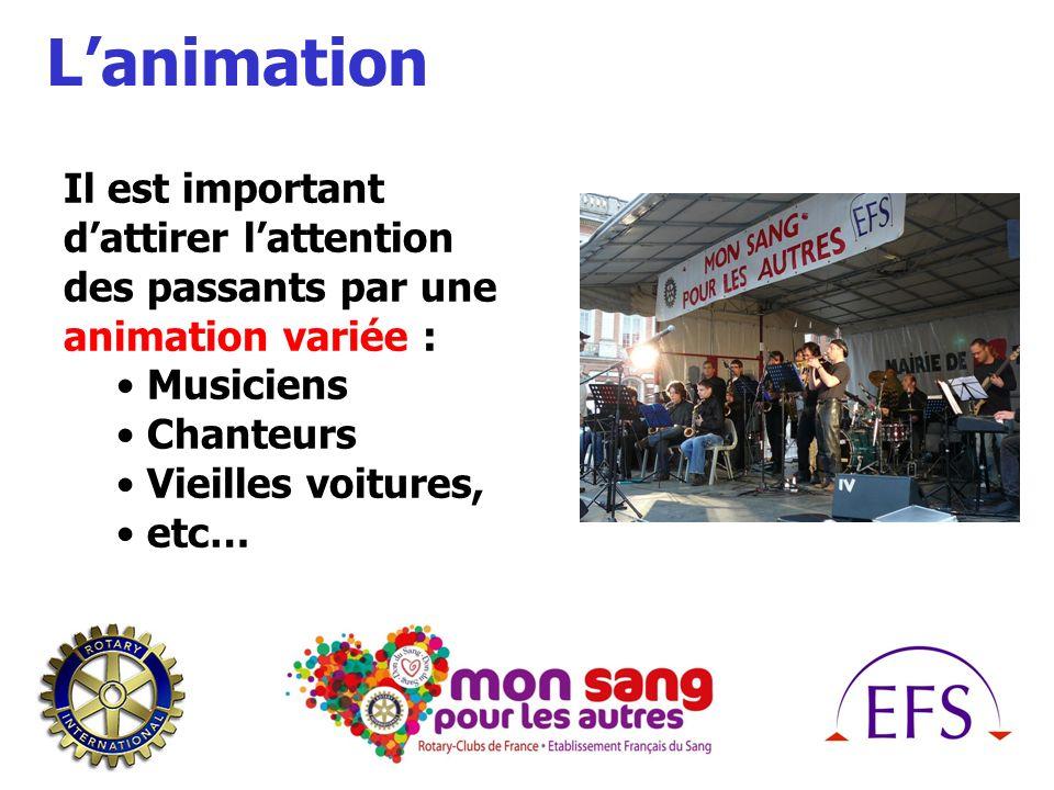 Lanimation Il est important dattirer lattention des passants par une animation variée : Musiciens Chanteurs Vieilles voitures, etc…