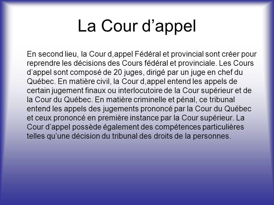 La Cour dappel En second lieu, la Cour d,appel Fédéral et provincial sont créer pour reprendre les décisions des Cours fédéral et provinciale.