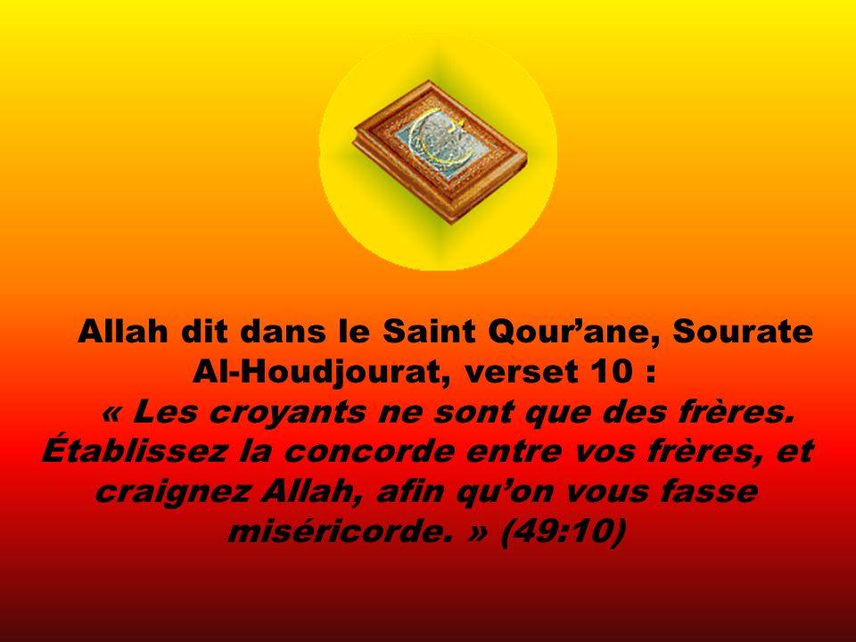 Allah dit dans le Saint Qourane, Sourate Al-Houdjourat, verset 10 : « Les croyants ne sont que des frères.