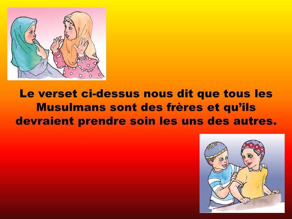 Le verset ci-dessus nous dit que tous les Musulmans sont des frères et quils devraient prendre soin les uns des autres.