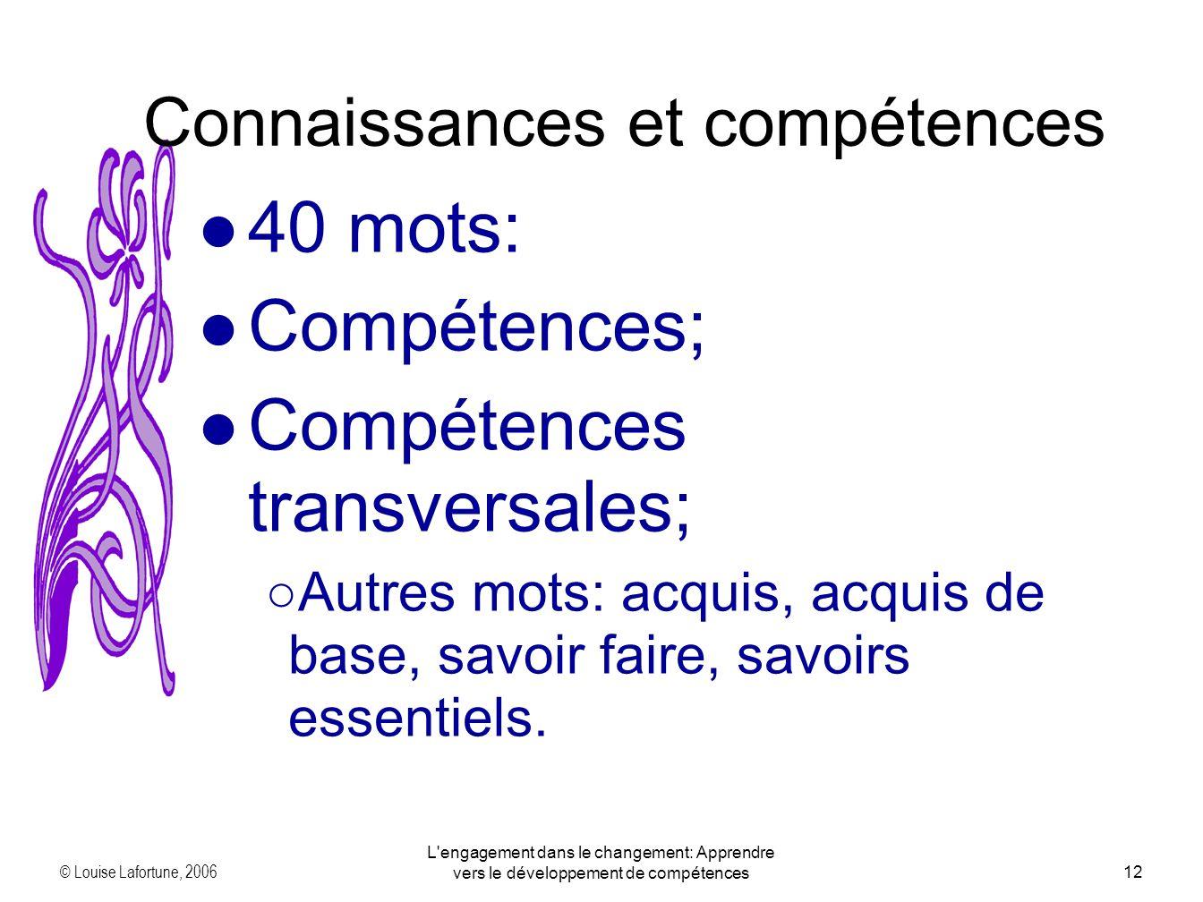 © Louise Lafortune, 2006 L engagement dans le changement: Apprendre vers le développement de compétences12 40 mots: Compétences; Compétences transversales; Autres mots: acquis, acquis de base, savoir faire, savoirs essentiels.